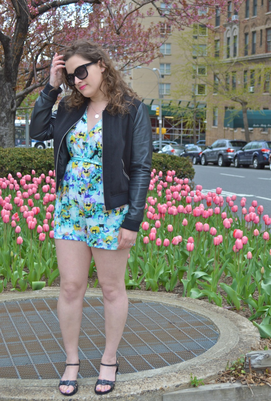 Floral Romper and Bomber Jacket